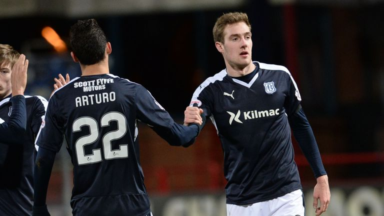 Dundee's Kevin Holt (right) celebrates having scored against Dumbarton