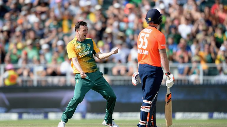 Kyle Abbott of South Africa celebrates one of England's second wickets in their collapse