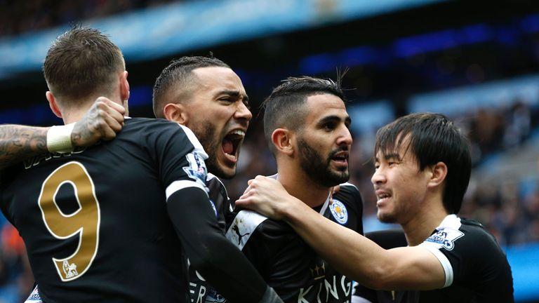 Leicester celebrate scoring against Man City