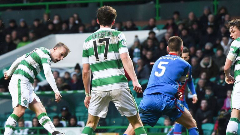 Leigh Griffiths scoring his 32nd goal of the season as Celtic beat Inverness CT 3-0