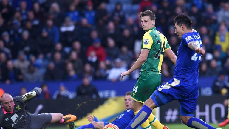 Leicester striker Leonardo Ulloa scores from close range