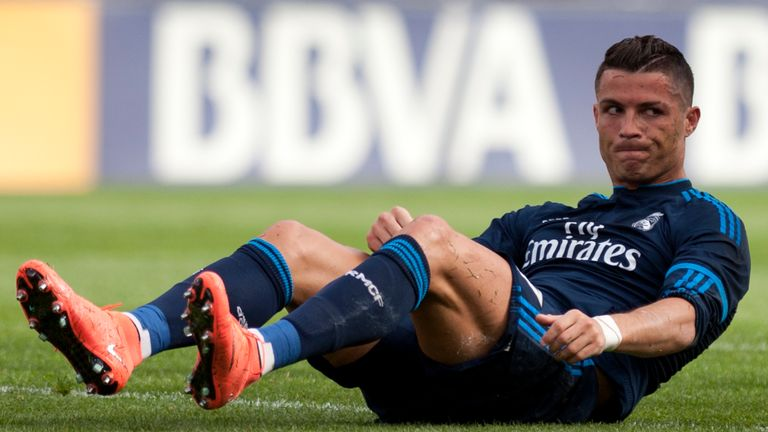Cristiano Ronaldo sits on the field during the game with Malaga