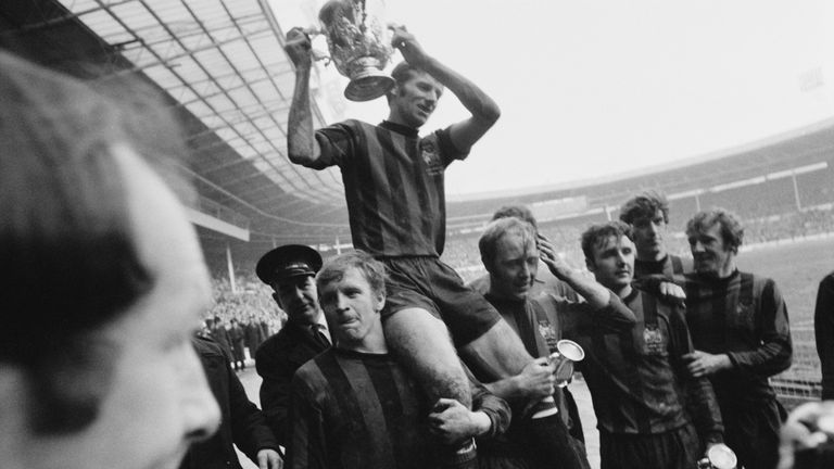 The lap of honour by Manchester City after they won the 1970 League Cup Final against West Brom at Wembley
