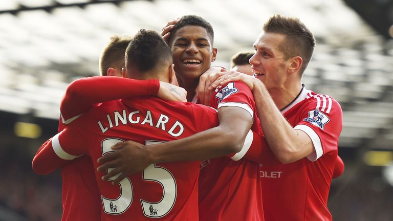 Marcus Rashford is congratulated after scoring