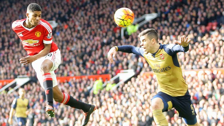Marcus Rashford scores his and Manchester United's second goal against Arsenal