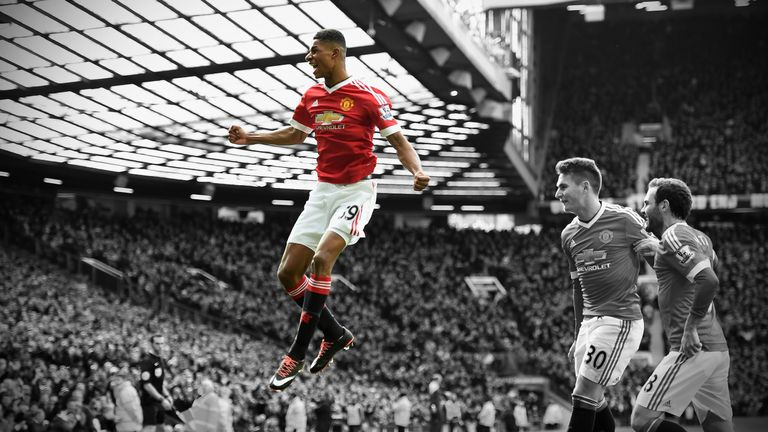 Marcus Rashford celebrates after scoring against Arsenal