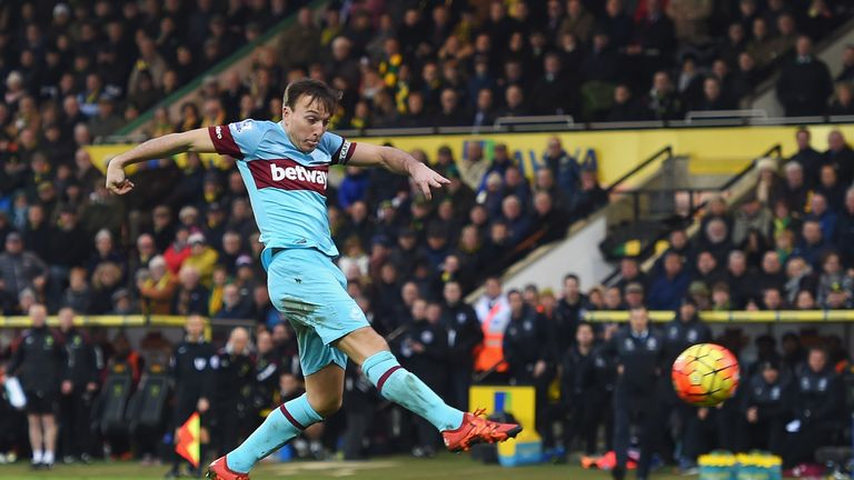 Mark Noble of West Ham United scores his team's second goal at Norwich