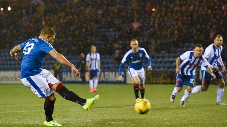 Rangers' Martyn Waghorn makes it 1-0 from the penalty spot