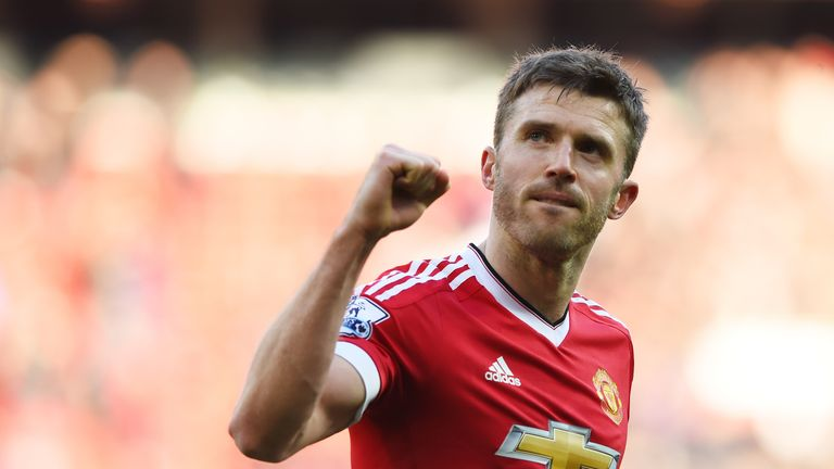 MANCHESTER, ENGLAND - FEBRUARY 28:  Michael Carrick of Manchester United celebrates after the Barclays Premier League match between Manchester United and A