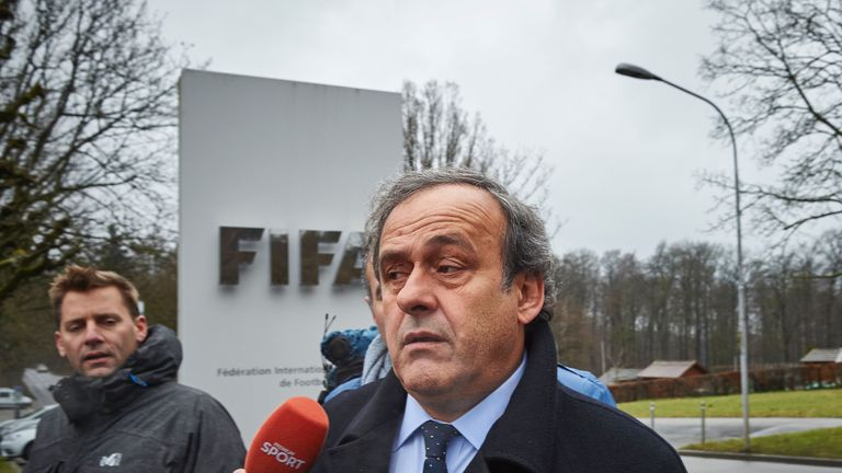 Michel Platini arrives at FIFA HQ in Zurich on Monday