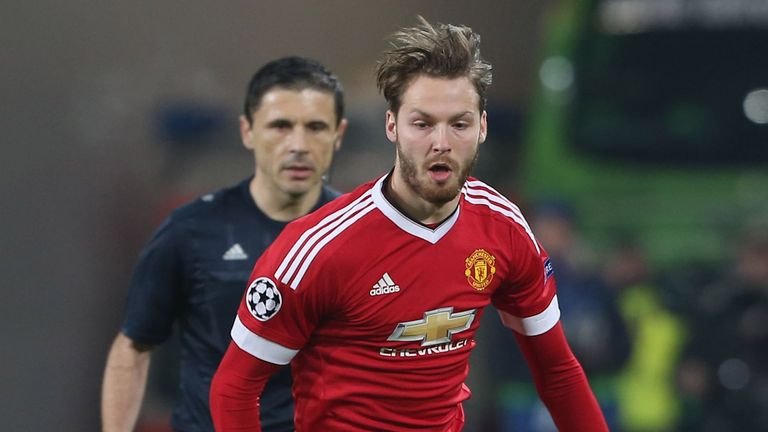Nick Powell of Manchester United in action during the UEFA Champions League match between VfL Wolfsburg and Manchester United