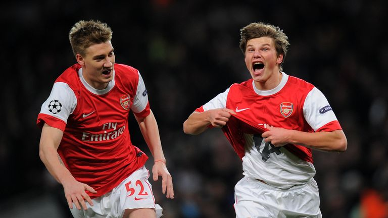 Nicklas Bendtner and Andrey Arshavin celebrate the latter's goal in the Champions League round of 16 first-leg tie between Arsenal and Barcelona in 2011