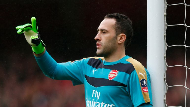 David Ospina of Arsenal gestures during the Emirates FA Cup fifth round match against Hull City at the Emirates Stadium