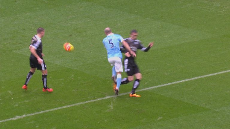 Pablo Zabaleta is brought down by Christian Fuchs