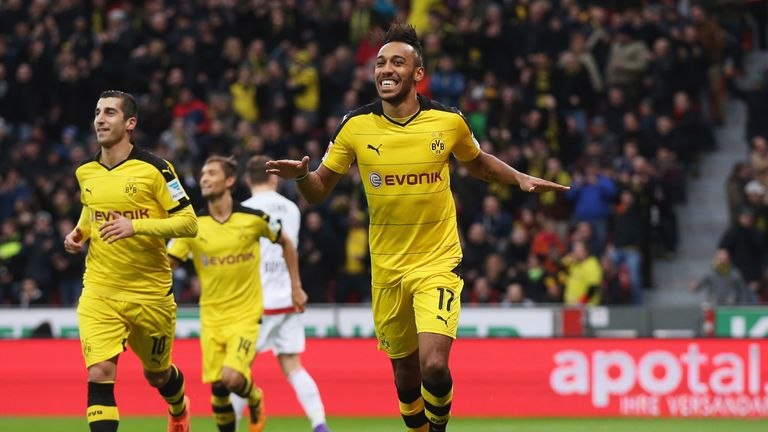 Pierre-Emerick Aubameyang of Borussia Dortmund celebrates as he scores their first goal during the Bundesliga match at Bayer Leverkusen