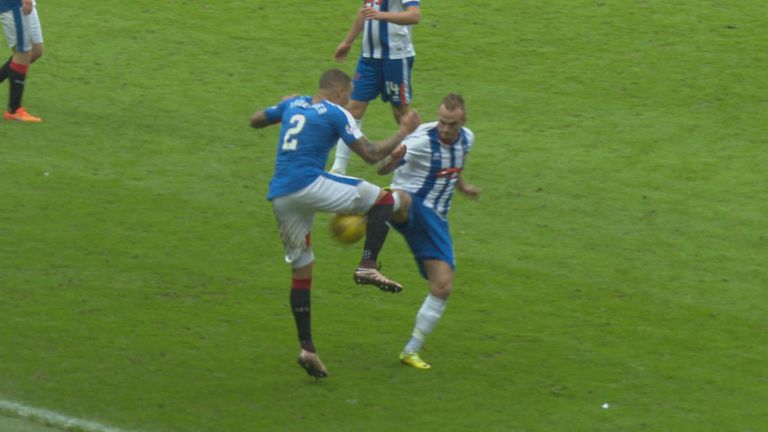 Higginbotham was quickly shown a red card after this challenge