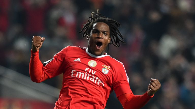 Benfica's midfielder Renato Sanches celebrates after scoring a goal