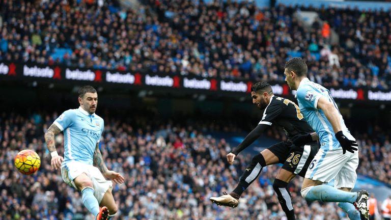 Riyad Mahrez scores against Man City