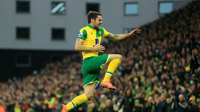 Robbie Brady of Norwich City celebrates scoring his team's first goal