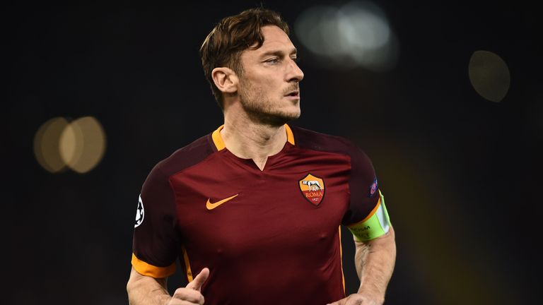 Roma's forward Francesco Totti runs during the UEFA Champions League football match AS Roma vs Real Madrid on Frebruary 17, 2016 at the Olympic stadium