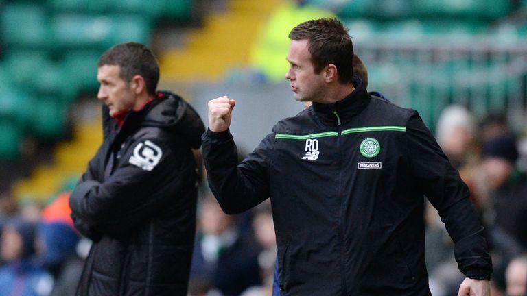 Deila celebrates after Boyata made it 2-0 to Celtic