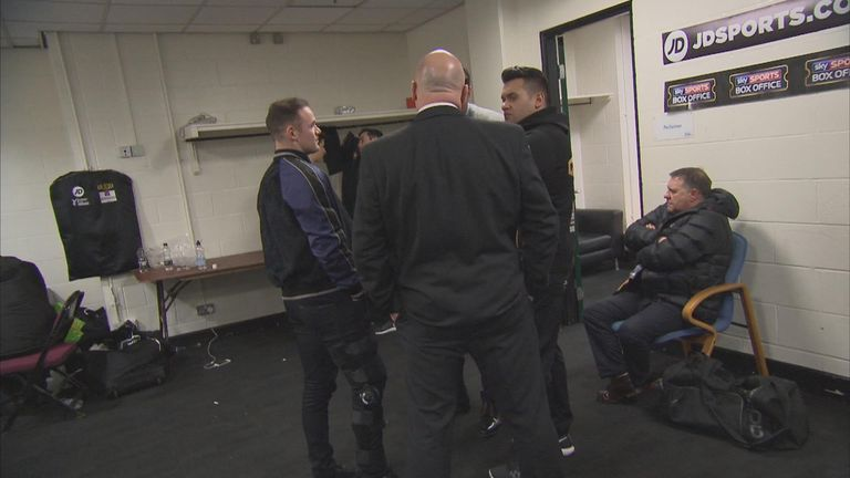 Wayne Rooney gives his support to Scott Quigg on Saturday night (Sky Sports Box Office)