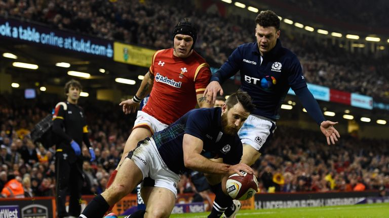Winger Tommy Seymour finishes a brilliant team try for Scotland