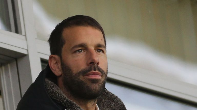Former Manchester United striker Ruud van Nistelrooy watches the UEFA Youth League match between Manchester United U19s and PSV Eindhoven U19s