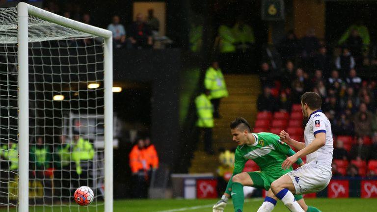 Leeds' Scott Wootton scores an own goal against Watford