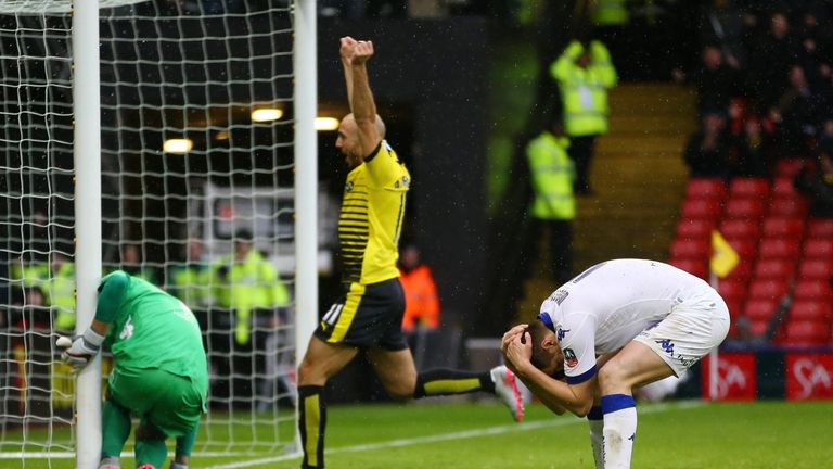 Leeds' Scott Wootton holds his head in his hands after scoring an own goal