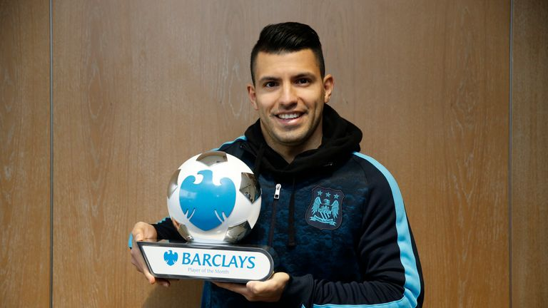Manchester City's Sergio Aguero has won the Premier League Player of the Month award for January