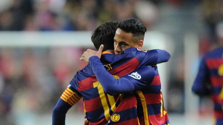 Lionel Messi goal celeb, Neymar, 300th La Liga goal, Sporting Gijon v Barcelona