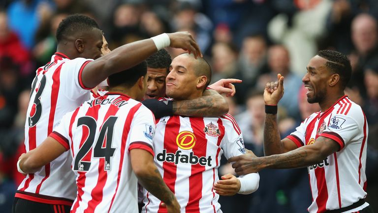 Wahbi Khazri (C) of Sunderland celebrates scoring his team's first goal with his team mates during the Barclays Premier League