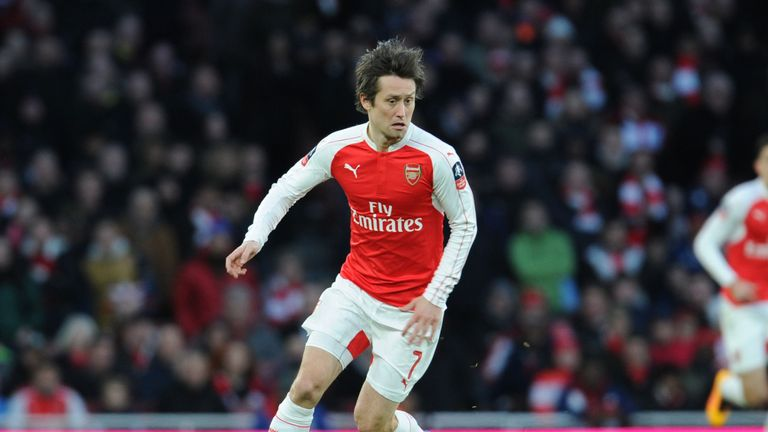 Tomas Rosicky made a rare appearance in Arsenal's FA Cup Fourth Round match against Burnley on January 30, 2016.
