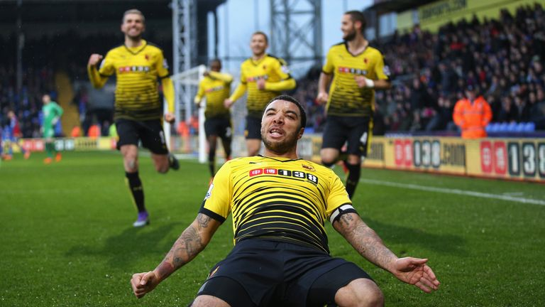 Troy Deeney of Watford celebrates scoring his team's second goal