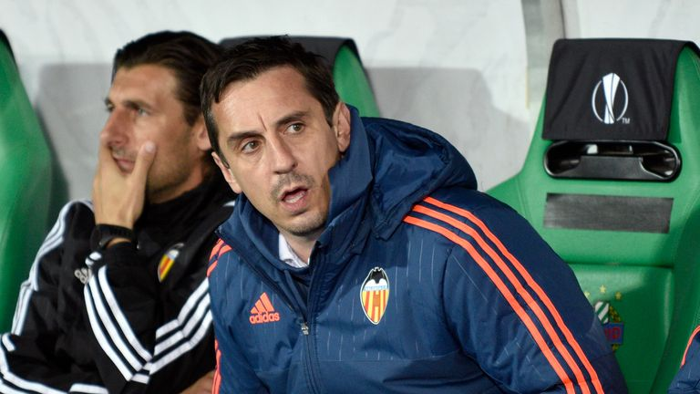 Valencia's head coach Gary Neville looks on as his side move into the last 16 of the Europa League