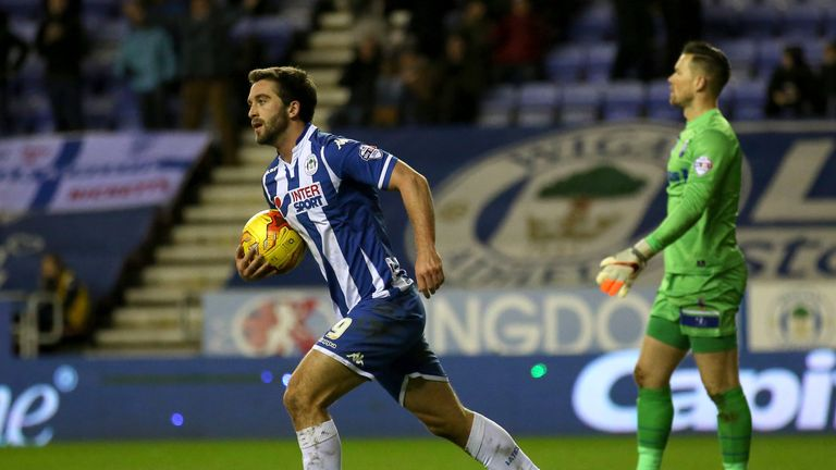Wigan Athletic's Will Grigg celebrates scoring