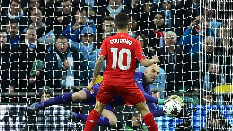 Willy Caballero saves Philippe Coutinho's penalty in the Capital One Cup final
