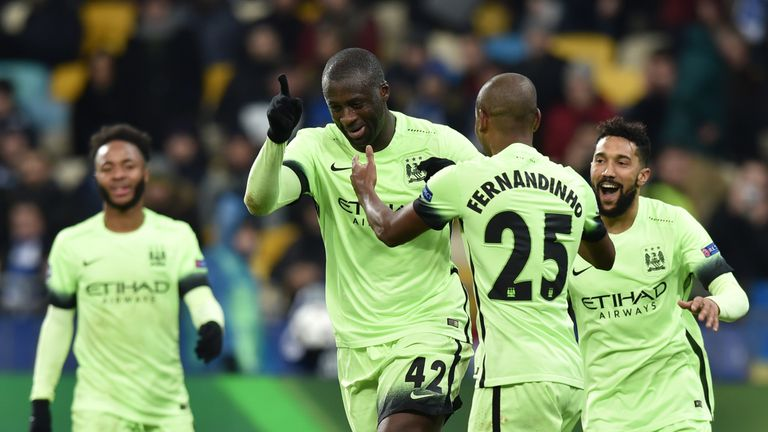 Toure celebrates scoring a brilliant third for City