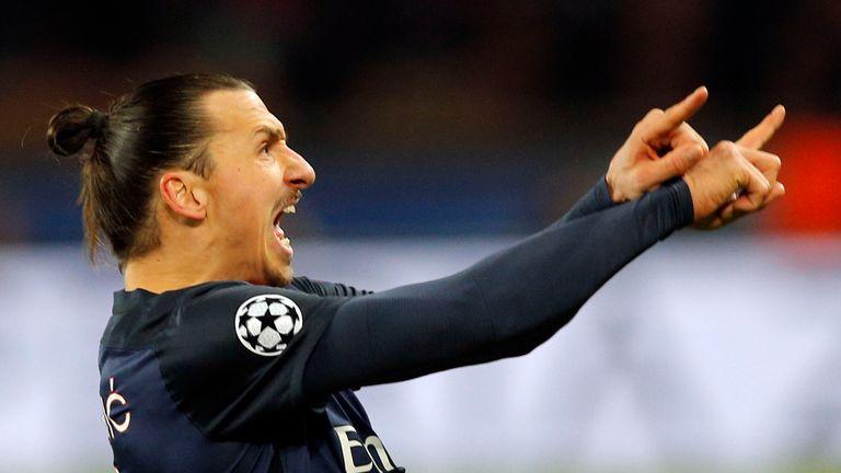 PSG's Zlatan Ibrahimovic celebrates his opening goal