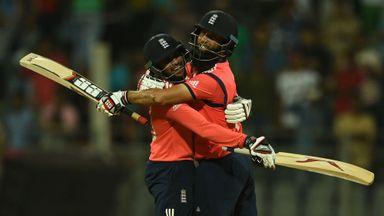 Adil Rashid and Moeen Ali celebrate England