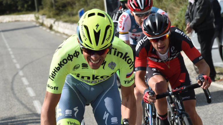 Alberto Contador (left) and Richie Porte (right) rode away from Thomas on the Col d'Eze