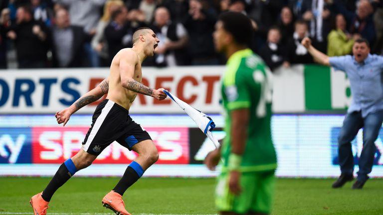 Aleksandar Mitrovic of Newcastle United celebrates