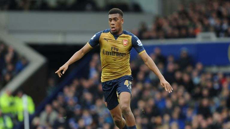 Alex Iwobi of Arsenal during the Barclays Premier League match between Everton and Arsenal