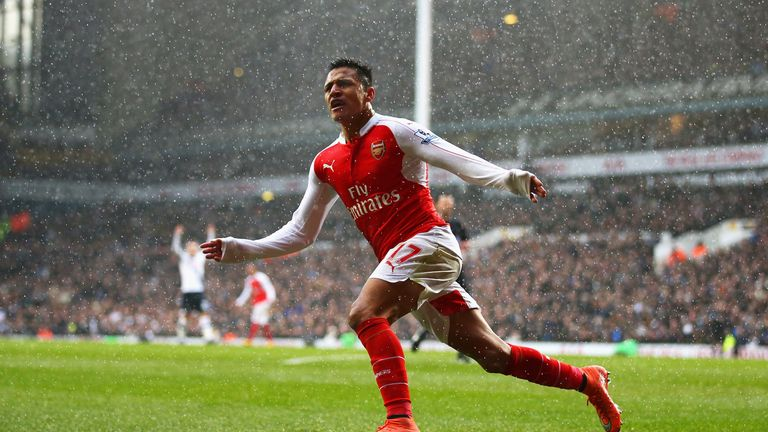 Alexis Sanchez of Arsenal celebrates scoring his team's second goal