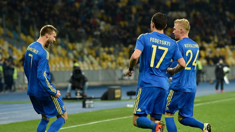 Yarmolenko celebrates after scoring against Wales