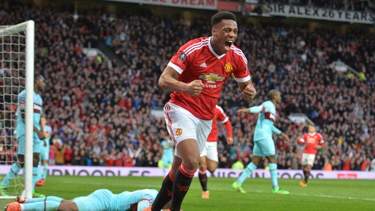 Manchester United's French striker Anthony Martial celebrates