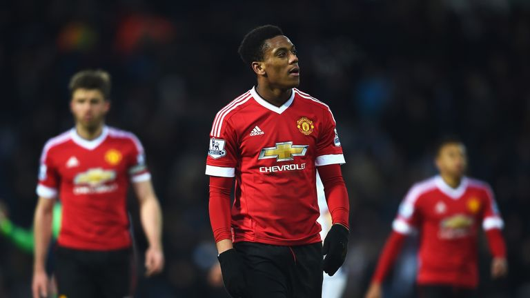 Anthony Martial of Manchester United looks dejected after the Barclays Premier League match between West Bromwich Albion