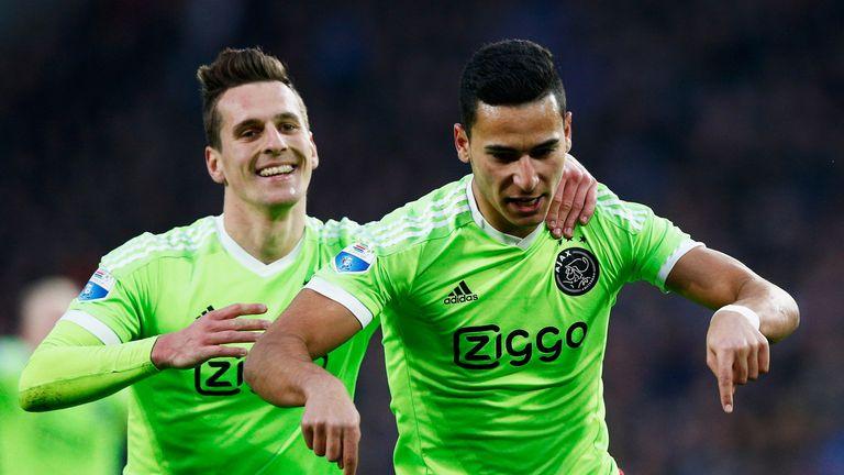 Anwar El Ghazi (R) of Ajax celebrates scoring his teams second goal of the game with Arkadiusz Milik during the Eredivi