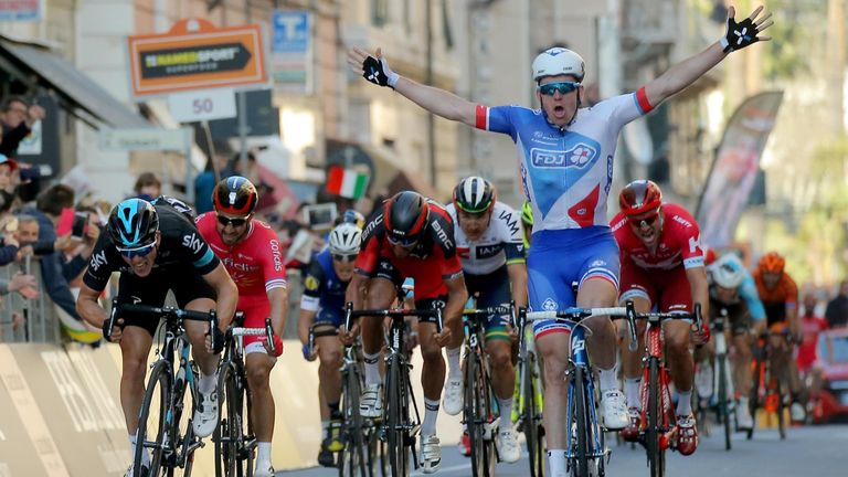 Arnaud Demare edged out Ben Swift to win Milan-San Remo